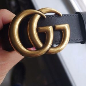 Gucci Leather Belt w/Double G Buckle